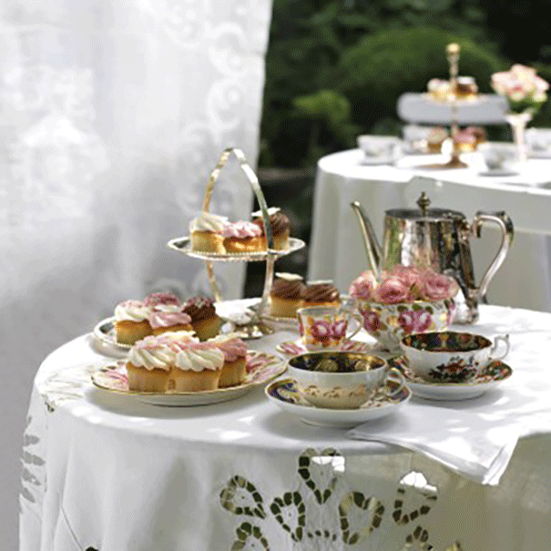 Tea set with cups and saucers from Lewis and Kaye fine dining section