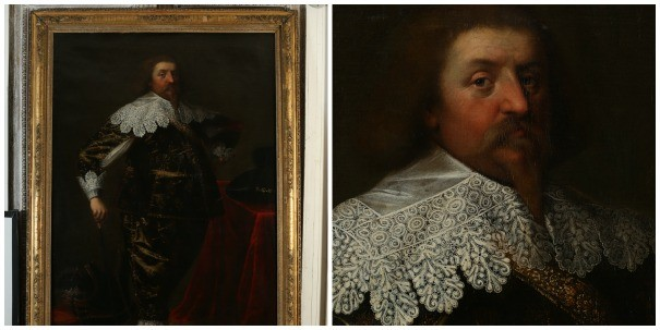 An oil painting and detail available to hire from Spiller as photographed by Henry Curtis-Williams.