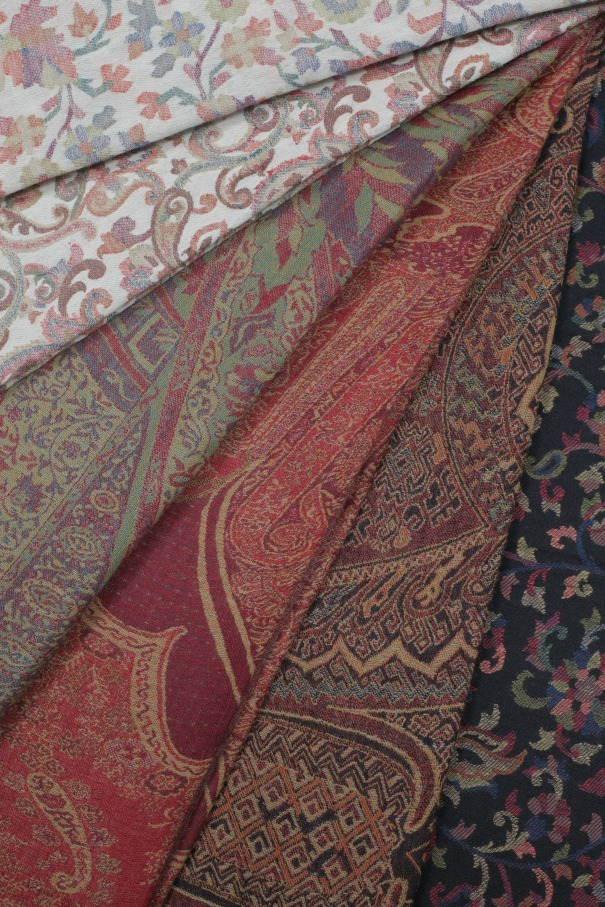 A selection of pashminas available to hire from Props Galore as photographed by Henry Curtis-Williams.