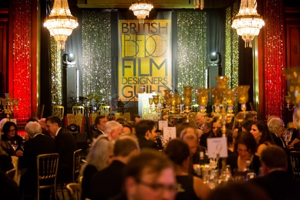 The ballroom at Pinewood Studios ready for The British Film Designers Guild Awards