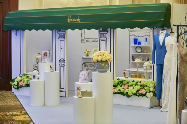 A mini Harrods in The Langham Hotel ballroom for The Quintessentially Wedding Atelier