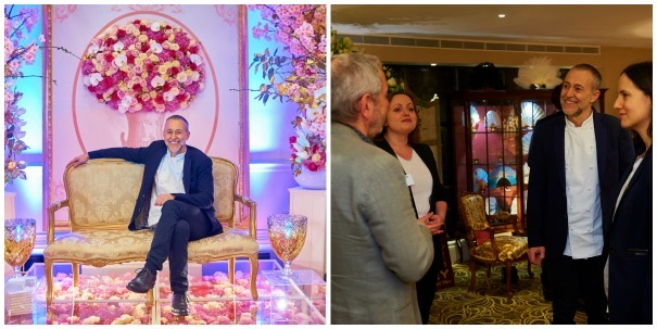 Francesca and Mark Farley meet Michel Roux Junior at The Quintessentially Wedding Atelier