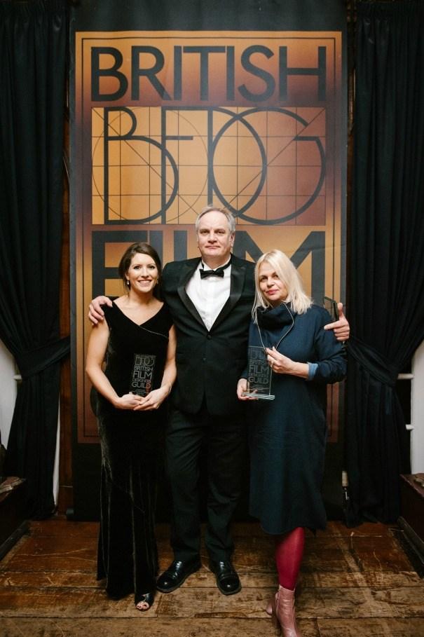 Stella Fox, Peter Francis, Astrid Sieben BFDG award winner for Mindhorn