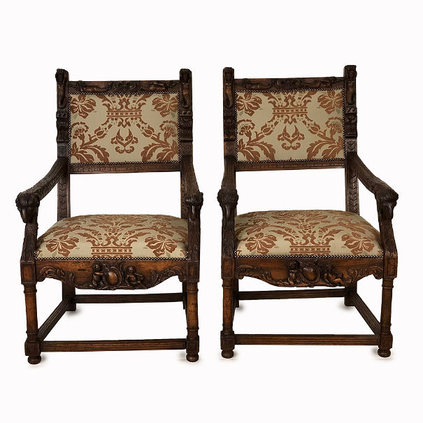 French armchairs Henri II with rams head and mermaid carved detail