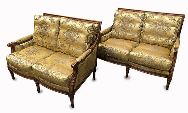 gold silk upholstery with loose cushions